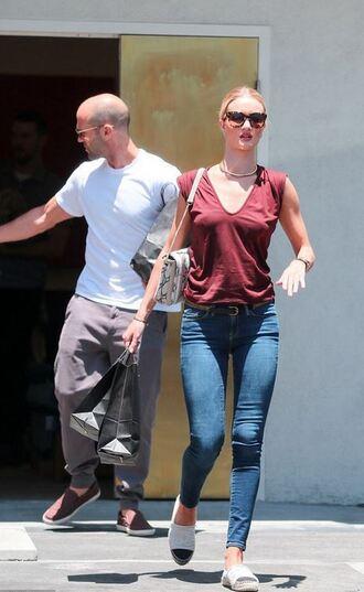 top jeans flats espadrilles rosie huntington-whiteley sunglasses
