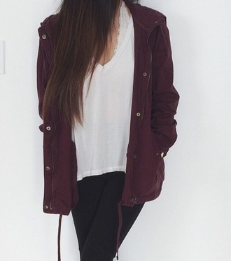 coat large coat burgundy maroon coat white vneck bralette lace bralette black skinny jeans skinny jeans casual rag freshlove on point clothing style stylish trendy blogger fashionista chill rad cute fashion inspo outfit idea teenagers