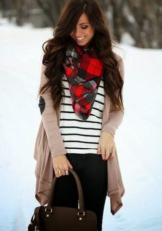bag scarf cardigan shirt