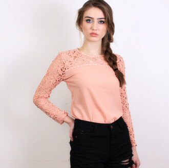 top lace top lace sleeves floral lace long sleeves