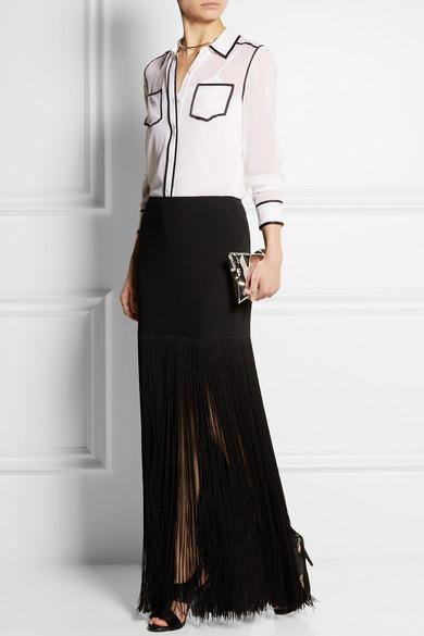 Fringed crepe mini skirt