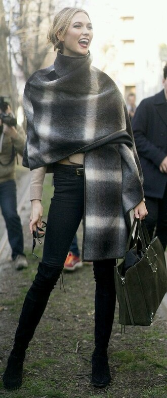 scarf karlie kloss high collar turtleneck shawl poncho haute couture top