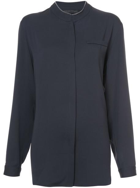 shirt women classic silk grey top