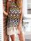 Multicolor geometric printing tassel halterneck backless dress