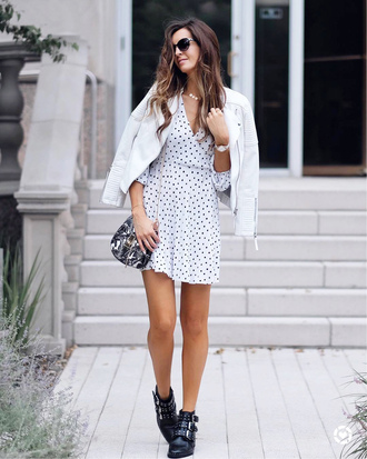 dress tumblr mini dress white dress polka dots v neck jacket white jacket boots ankle boots black boots
