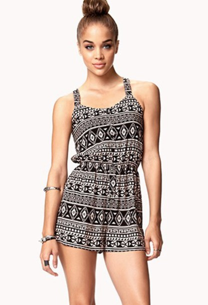 Romper aztec pattern outfit cute black brown white - Wheretoget