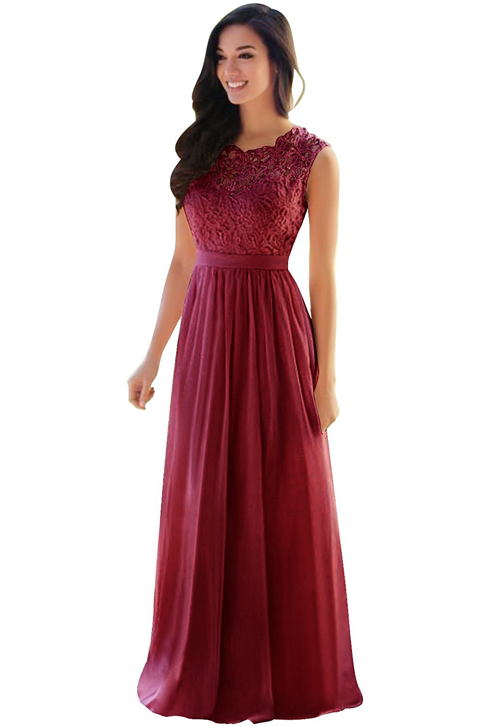 fe869e98e1 Lace Chiffon Bridesmaid Dresses Long 2017 Sheer Prom Evening Gowns By  MisShow at Amazon Women's Clothing ...