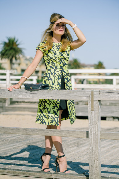 what would karl do blogger green dress sandals patterned dress