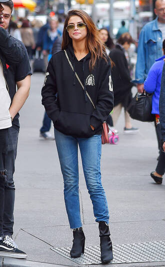 sweater hoodie jeans selena gomez streetstyle shoes boots bag
