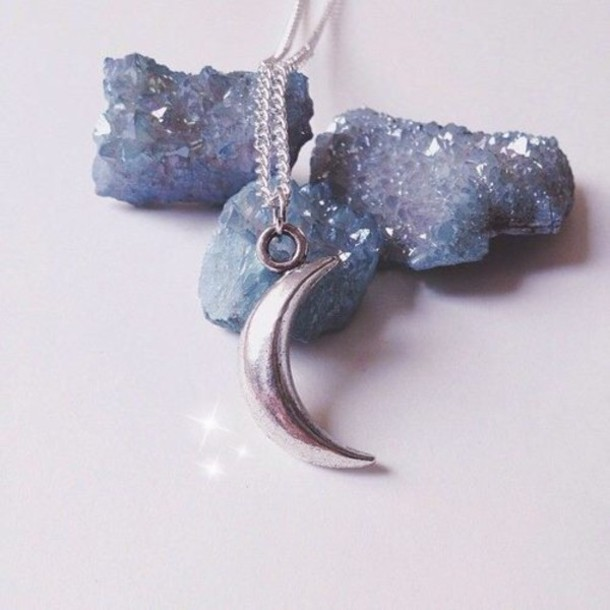 moon grunge boho jewels necklace moon necklace space
