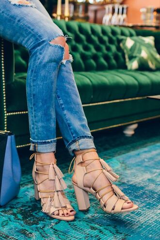 shoes nude heels block heels tassel blue jeans lace up heels ripped jeans cut out jeans block heel sandals