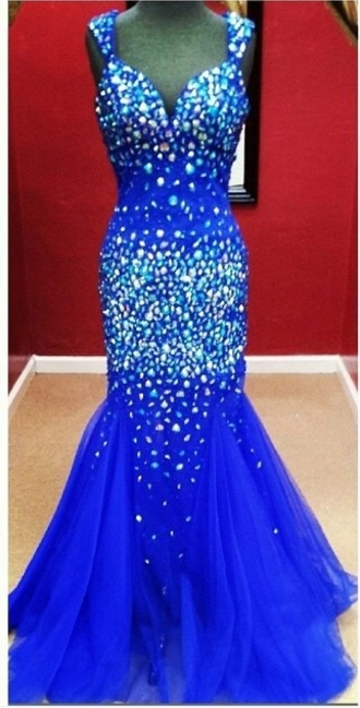 blue mermaid v neck dress sparkly dress tule skirt
