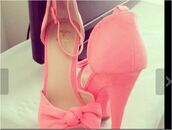 shoes,pink,barbapapa,sweet,light pink,bow tie,class,love,high heels