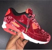 shoes,velvet,red,suede,nike,air max