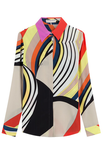 blouse silk multicolor top