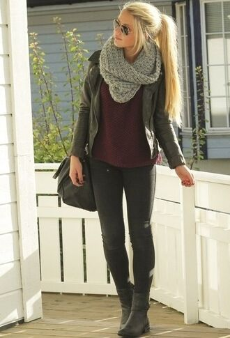 jacket black leather black leather jacket jeans sunglasses shoes scarf shirt sweater coat college hipster girl red infinity scarf ponytail cute boots red velvet sweater fall outfits warm gray knitwear infinity white scarf leather jacket knitted scarf