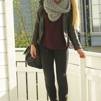 sweater scarf jacket black leather black leather jacket jeans sunglasses shoes shirt red girl hipster cute infinity scarf ponytail boots red velvet sweater gray fall outfits fall outfits warm knitwear infinity white scarf scarf red