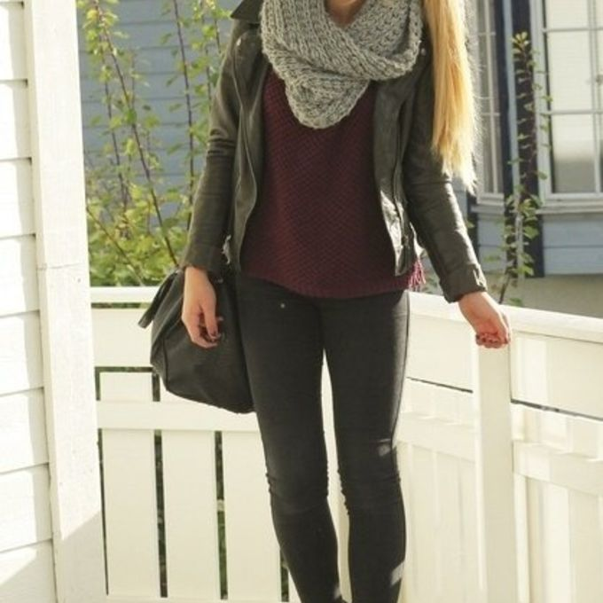scarf jacket black leather black leather jacket jeans sunglasses shoes shirt sweater coat red lime sunday red girl hipster cute boots infinity scarf ponytail red velvet sweater fall warm autumn gray infinity knitted white scarf leather jacket scarf red