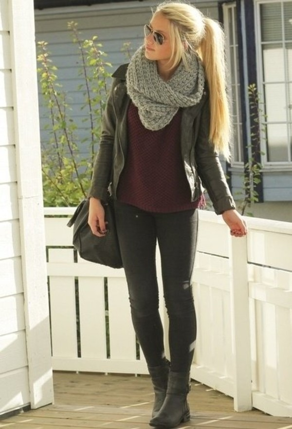 burgundy burgundy top black jeans black bag leather jacket aviator sunglasses infinity scarf scarf ankle boots bag grey knitted scarf