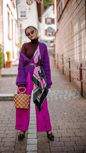 different cands,blogger,cardigan,pants,bag,shoes,fall outfits,purple cardigan,fall colors