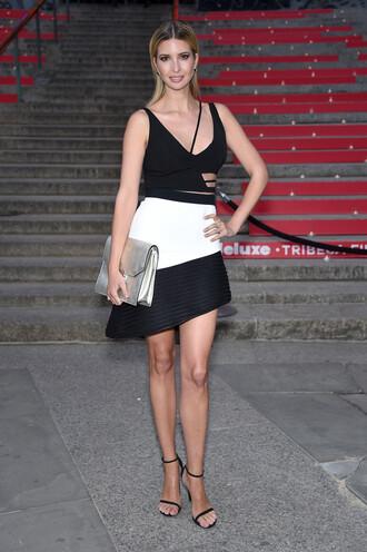 dress asymmetrical black and white ivanka trump