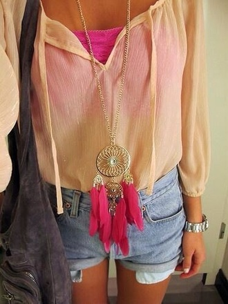 blouse jewels dreamcatcher pink summer summer outfits cute outfits cute lovely shirt tank top sparkle