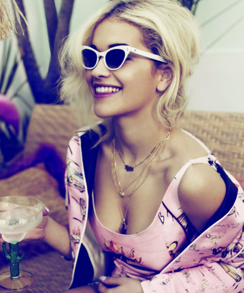 necklaces jewelry sunglasses coat pink tank top rita ora jacket top tank