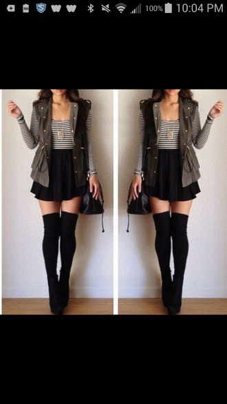 jacket vest jacket striped top black skirt boots purse