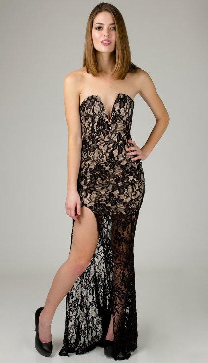 Elegant all lace sweetheart maxi tube dress