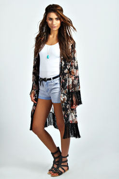 Sofie Floral Print Tassel Kimono at boohoo.com