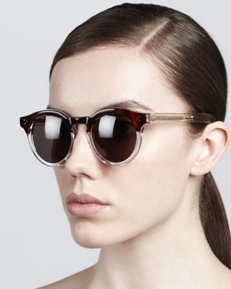 Illesteva Leonard II Round Sunglasses, Brown/Gray - Neiman Marcus