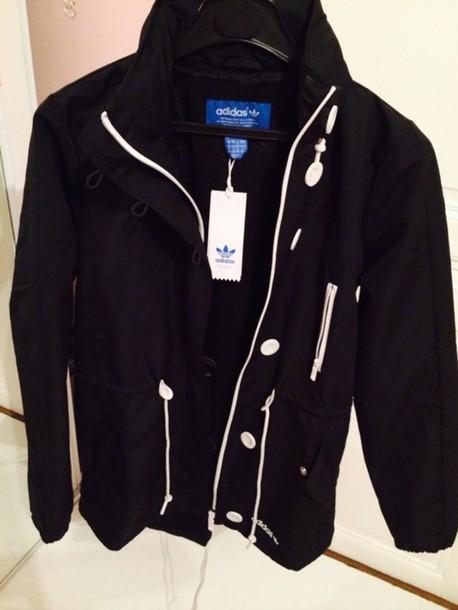coat raincoat k-way black adidas