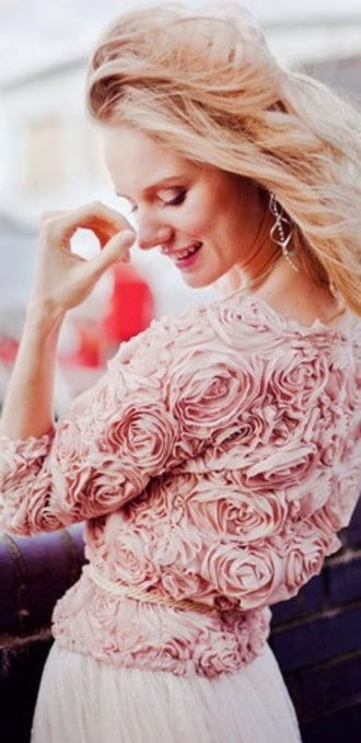 blouse roses romantic skirt cream color