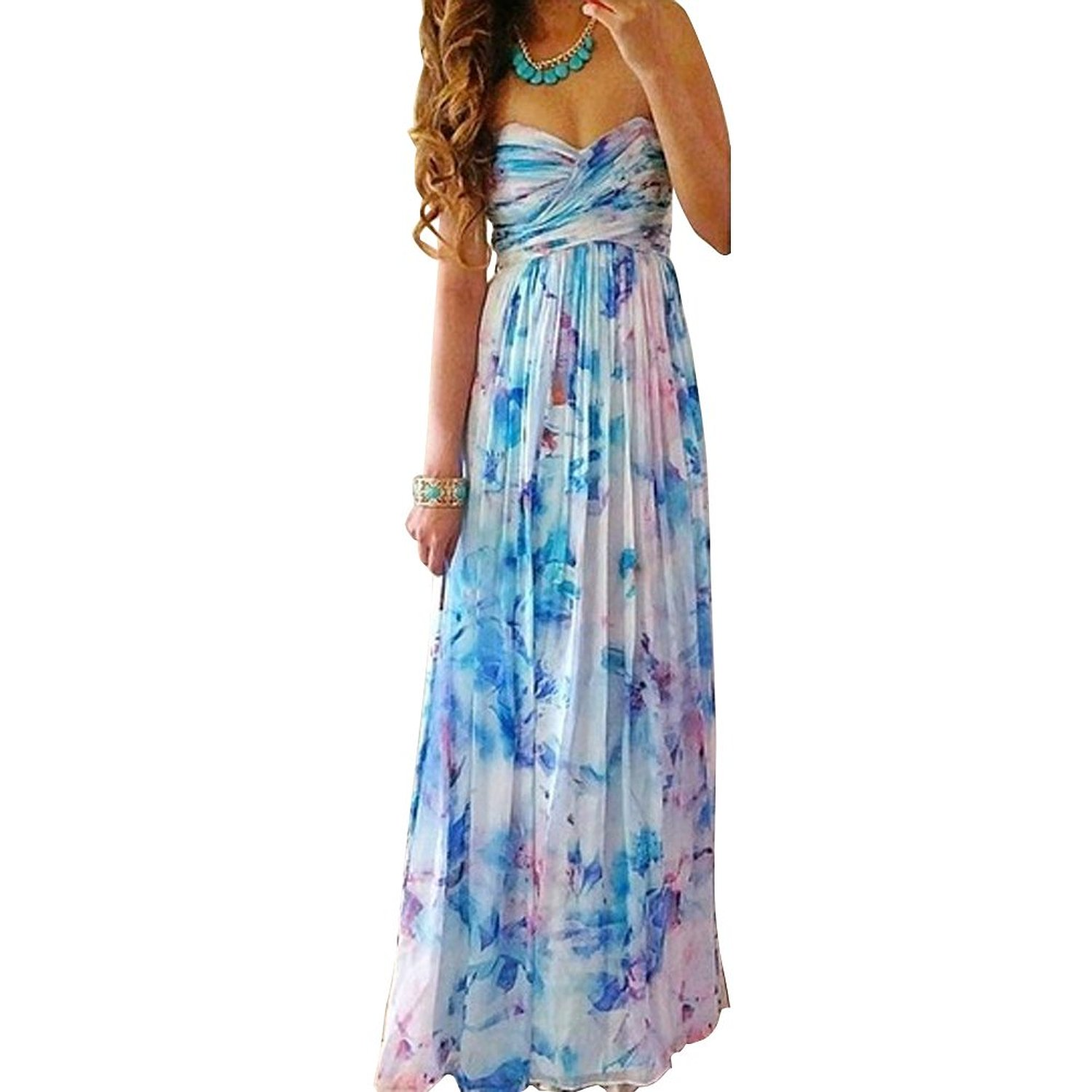 Janecrafts Women\'s Summer Strapless Chiffon Boho Long Maxi Evening ...