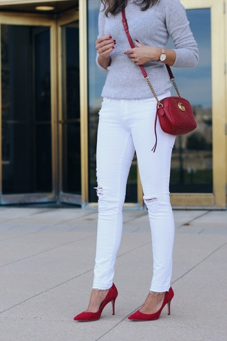 lilly's style blogger sweater jeans shoes bag jewels fall outfits red bag gucci bag crossbody bag grey sweater white jeans red heels pumps
