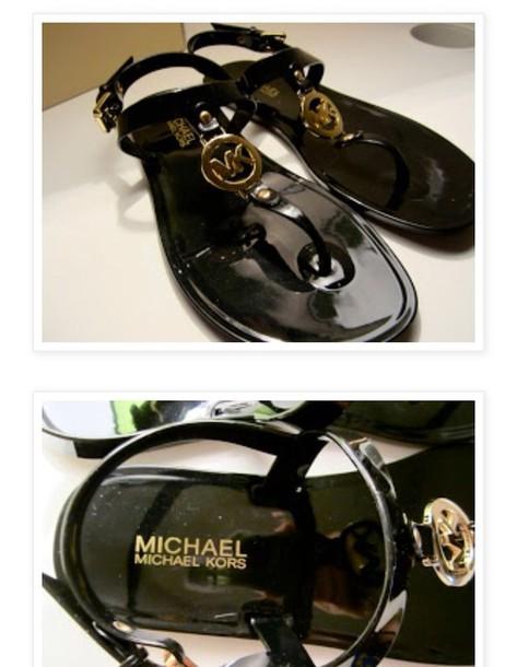 286c9a2d2653 shoes black gold summer class kors michael kors sandals michael kors sale