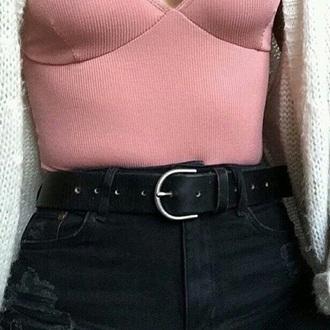 shirt knit pink classy tumblr pink top belt top