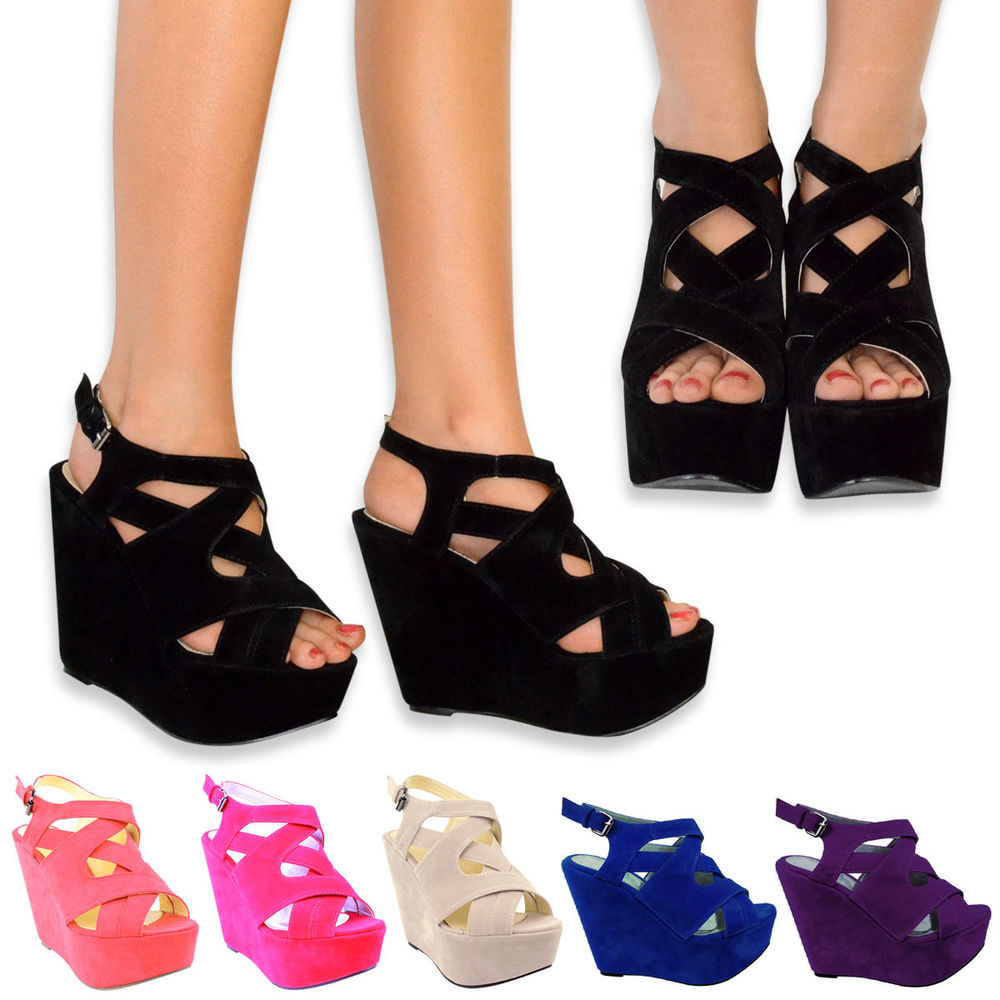 New Women High Heel Platform Strappy Wedges Peep Toe Sandals Shoes Size