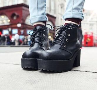 shoes black boots platform shoes