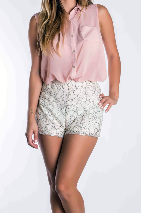 Embroidered high waist lace shorts