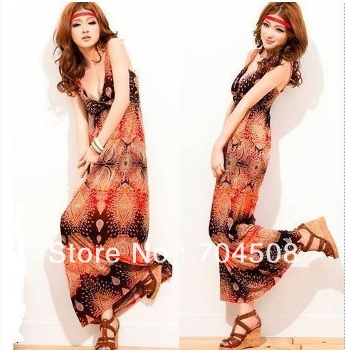 L541 Womens BOHO Magic V-neck Sleeveless Full-length Long Maxi Beach Dresses S M | Amazing Shoes UK