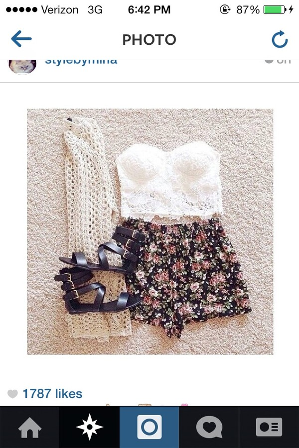 shorts lace flowy lace top crochet cardigan loose shorts shoes cardigan top