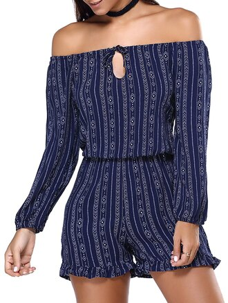 romper blue navy trendy off the shoulder long sleeves fashion style gamiss