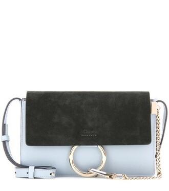 bag shoulder bag leather suede blue