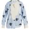 Asymmetric floral-print striped cotton shirt