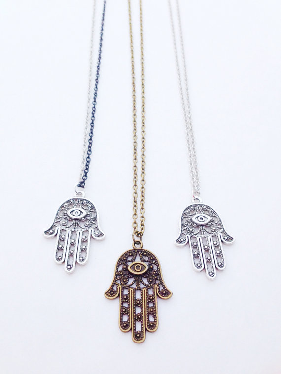 Hamsa Necklace. Silver Brass or Twotone. Unisex. by BrielleBelle