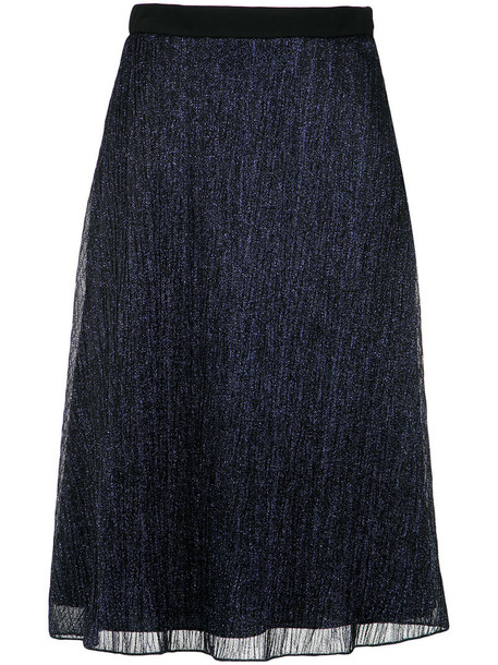 skirt midi skirt metal women midi blue