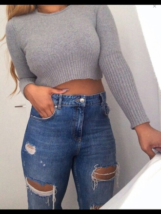 t-shirt crop tops gris cropped sweater