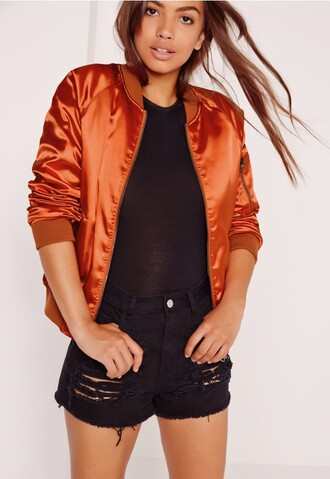 jacket bomber jacket orange satin silk rust