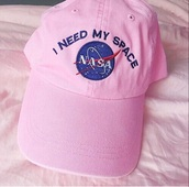 hat,pink,cute,kawaii,grunge,nasa,girl,tumblr,cap,i need my space,nasa logo,pink cap,pink hat,space,cool,nice
